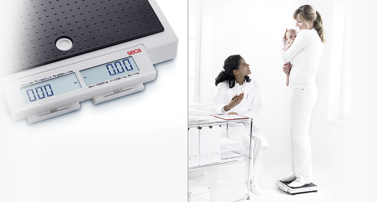 seca 874 - Flat scale for mobile use with push buttons and double display #3